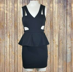 Sparkle & Fade black peplum dress sz 2